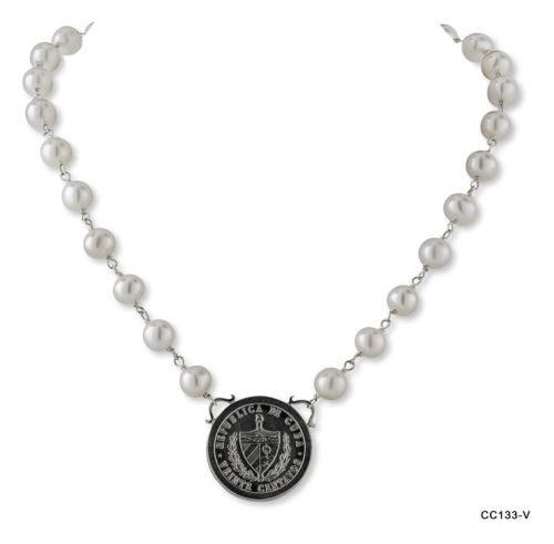 Silver Veinte Centavo Coin Pearl Necklace