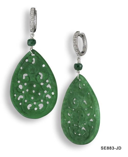 Carved Jade and Diamond Drop Earrings