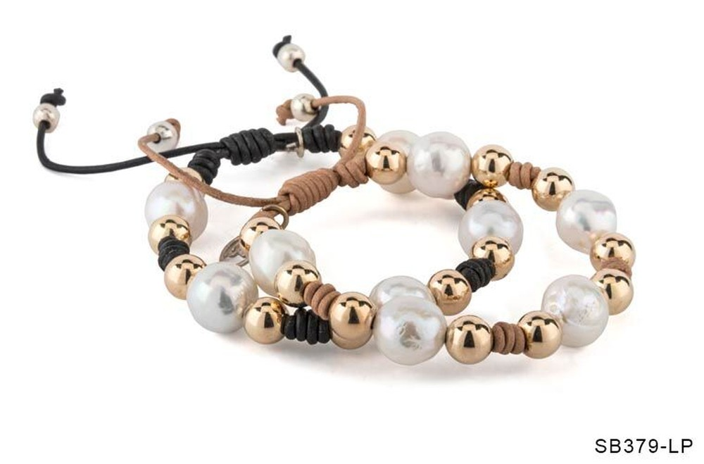 Leather Pearl Knotted Bracelet (Sold Separately)
