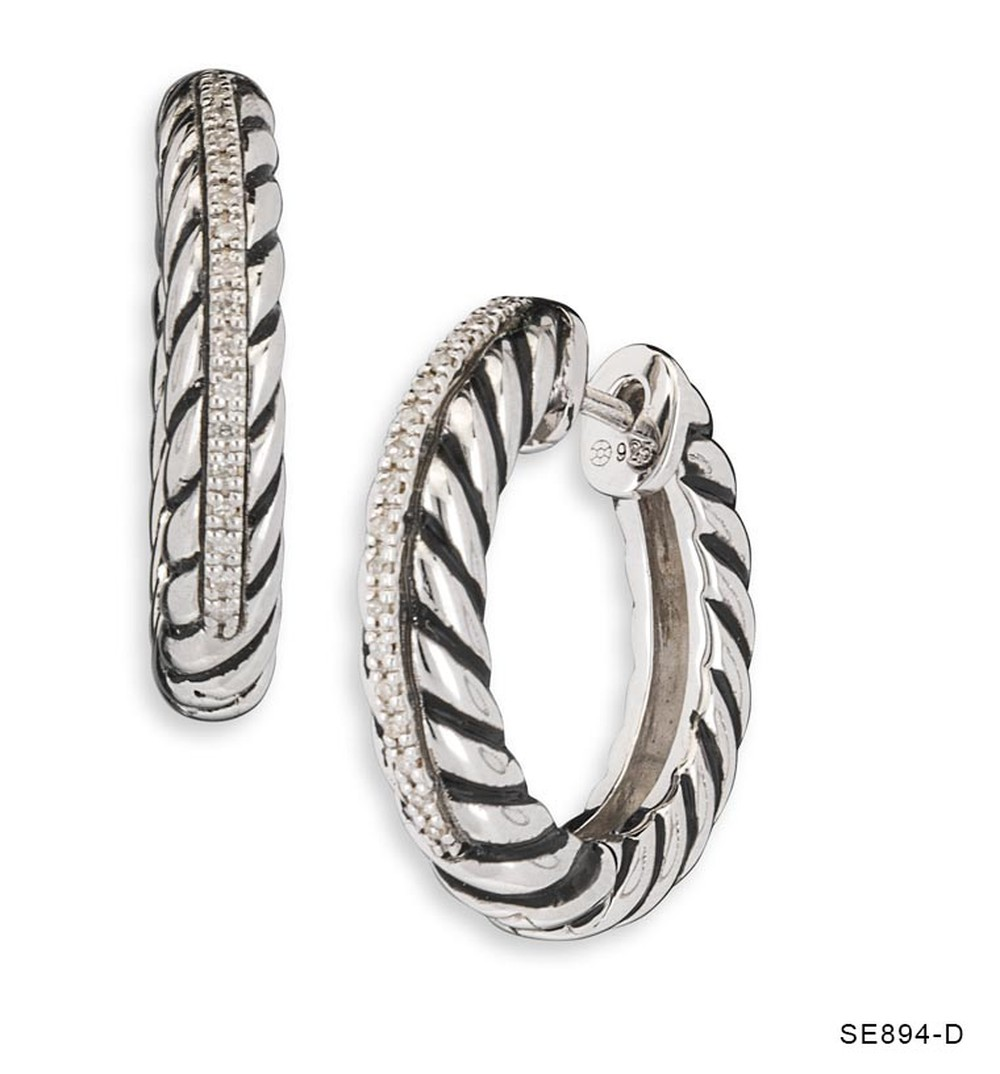 Rope Diamond Hoops