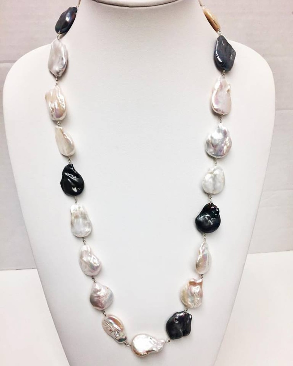 Baroque White, Gray and Black Pearl Long Necklace