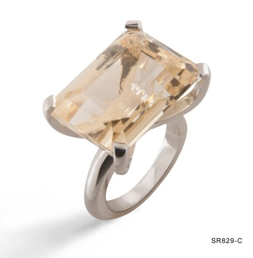 Citrine Rectangular Prong Ring