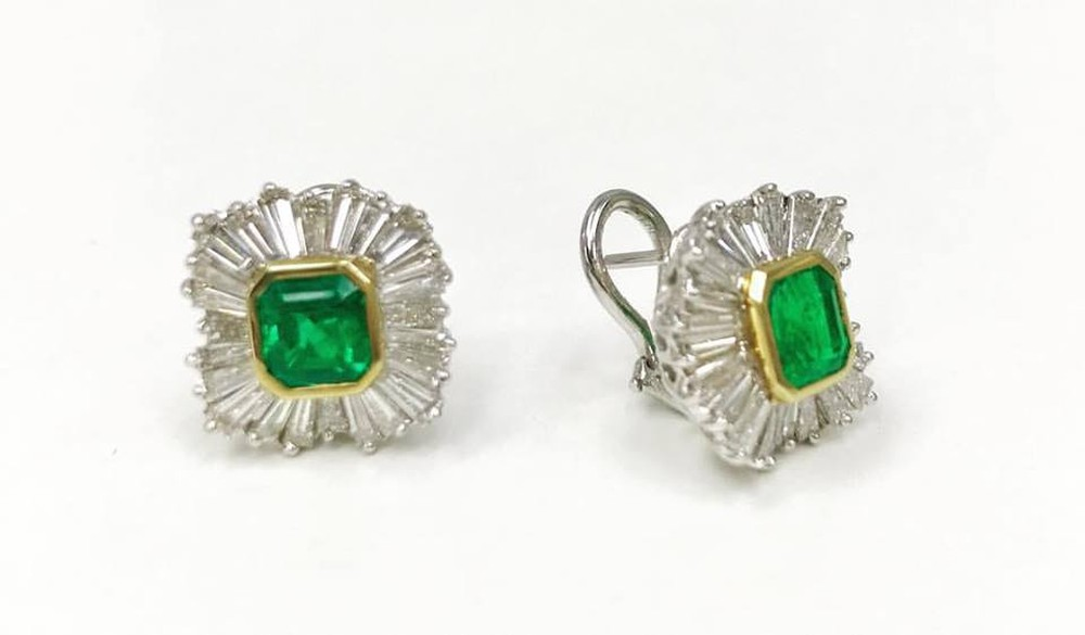 Emerald and Baguette Diamond Earrings