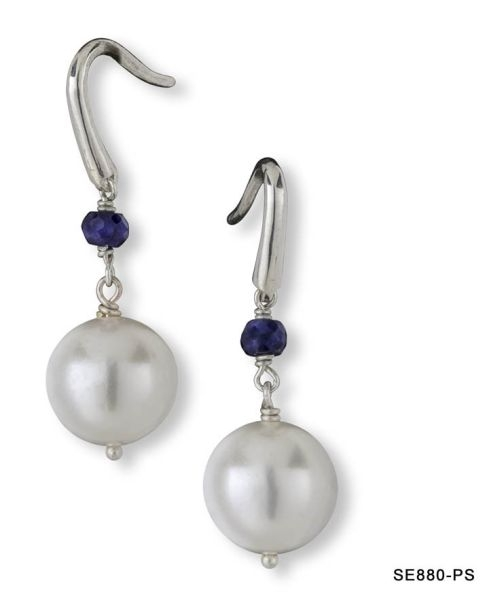 Pearl and Sapphire French Earrings