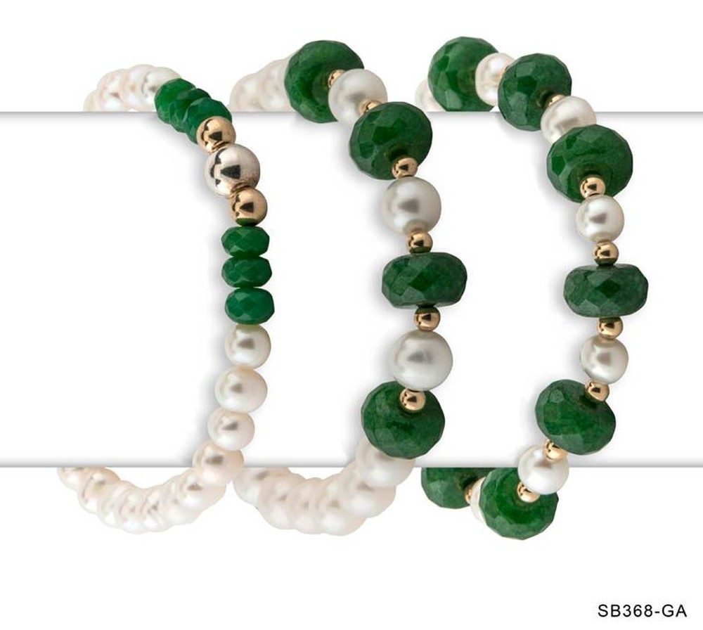 Pearl and Green Agate Bracelets (Sold Separately)