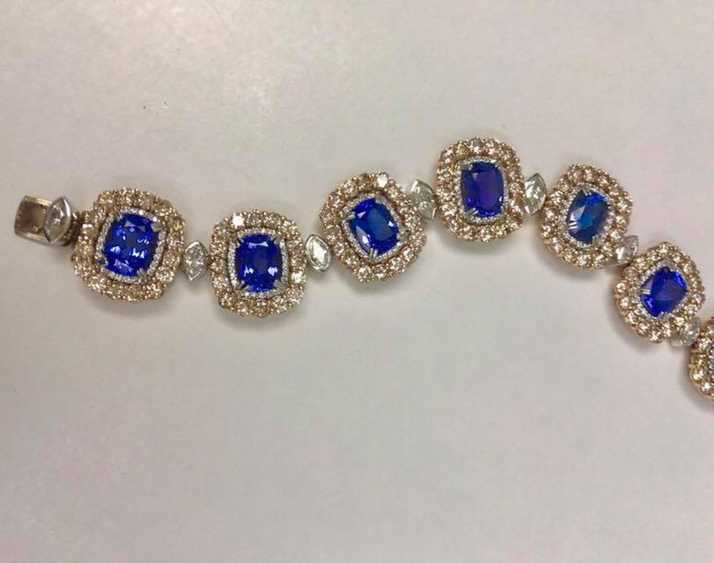 Tanzanite and Diamond Medallion Style Bracelet