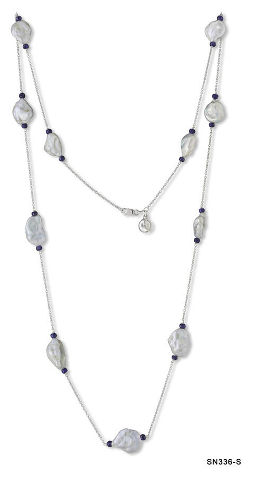 Baroque Pearl and Sapphire Chain Necklace