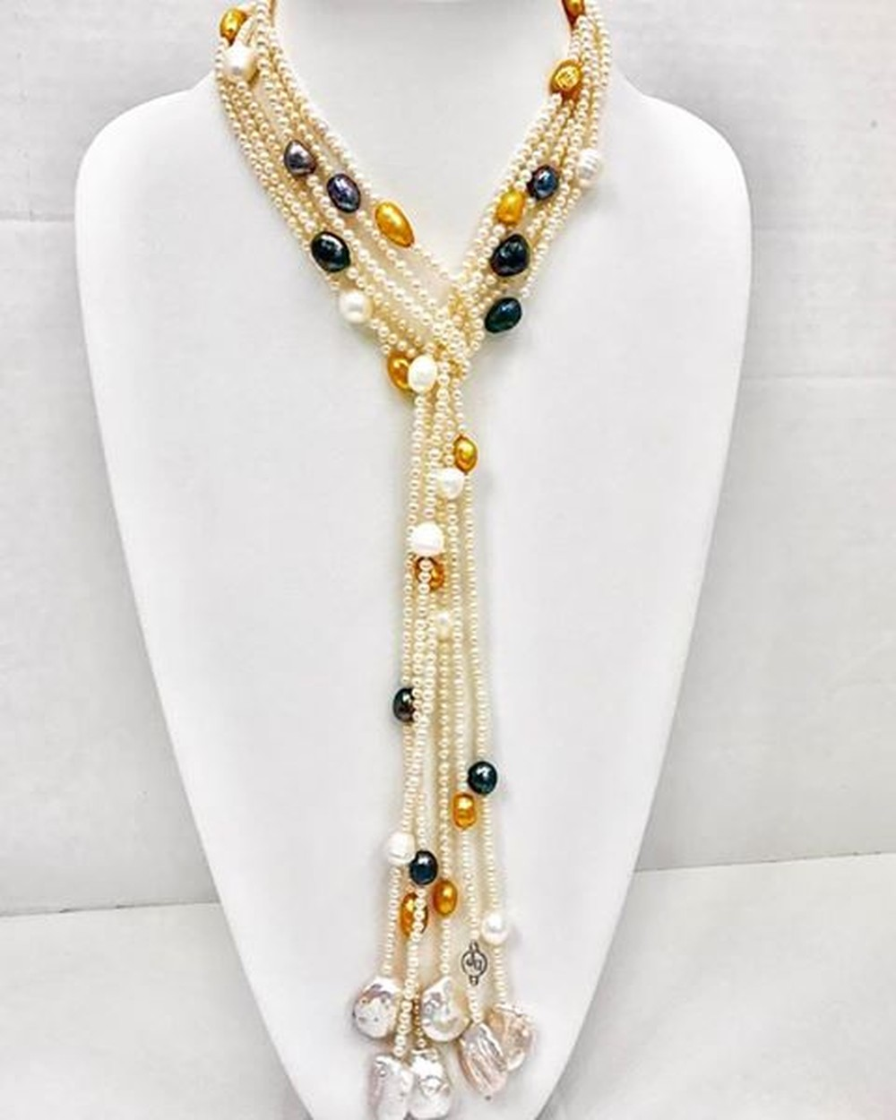 Triple Scarf Necklace in White, Black and Golden and BaroquePearl