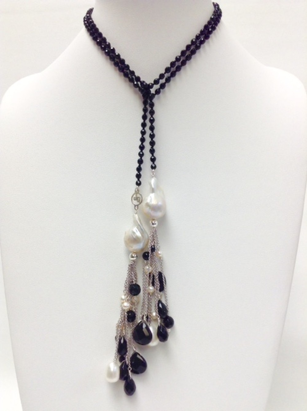 Double Tassel Necklace in Pearl and Onyx