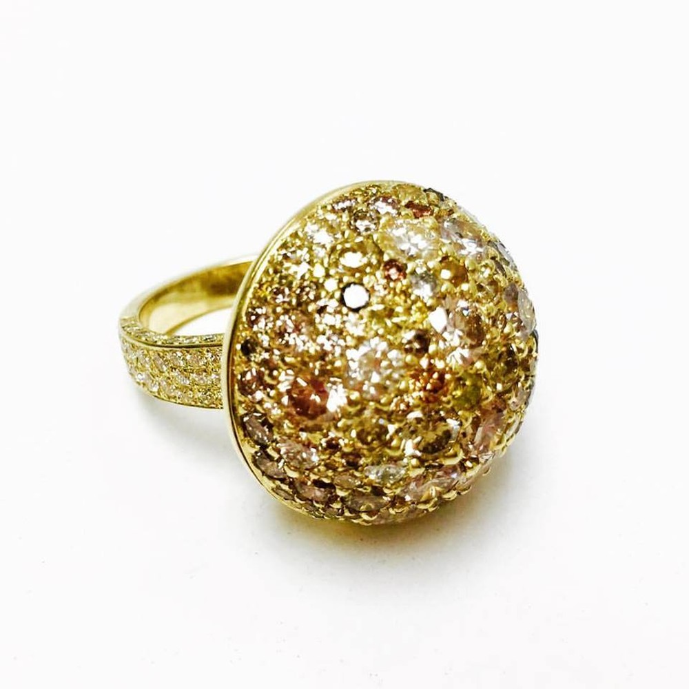 Diamond Dome Ring with Natural Fancy Yellow, Champagne and White Diamonds