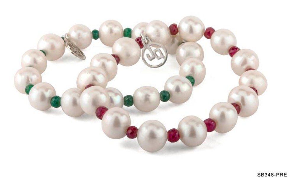 Pearl and Emerald or Ruby Bracelet (Sold Separately)